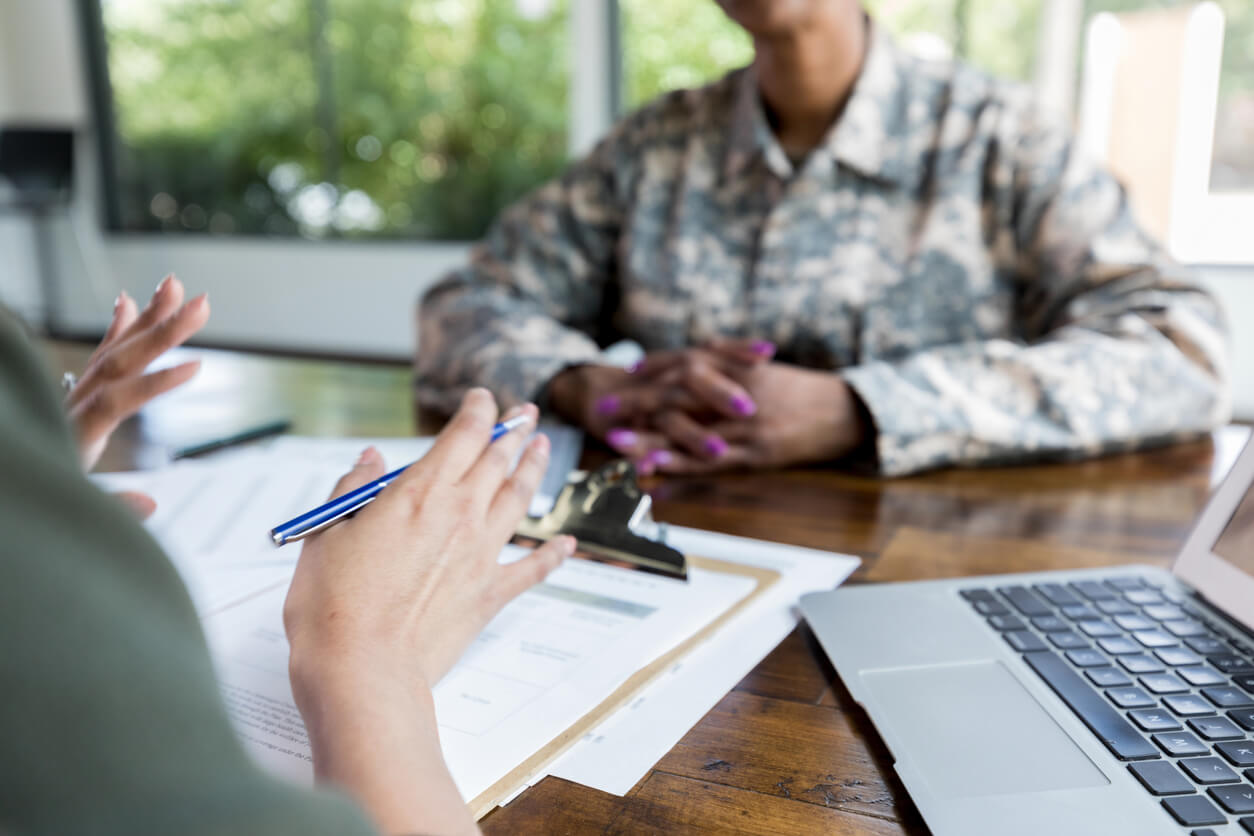 Veteran with multiple disabilities visiting attorney